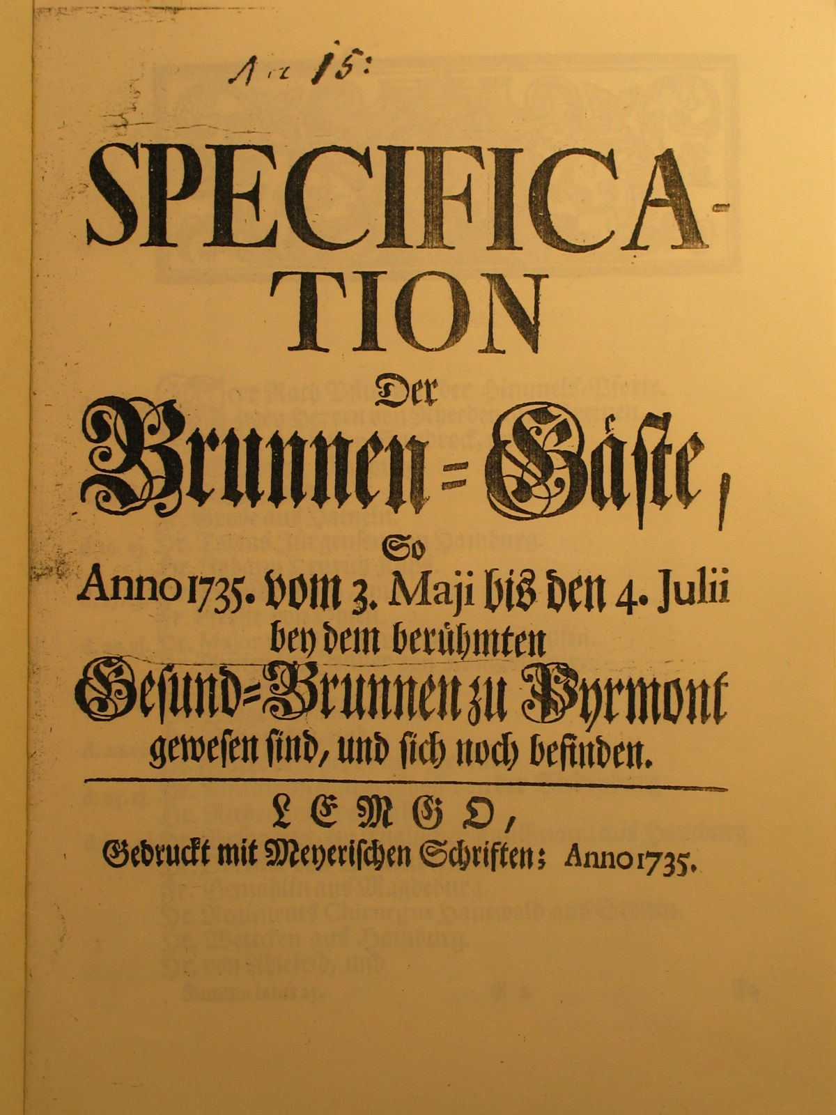 Specification der Brunnen-Gäste Anno 1735 - Deckblatt (Museum im Schloss Bad Pyrmont CC BY-NC-SA)